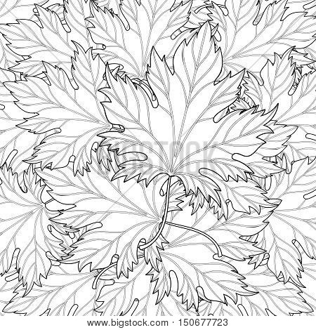 Zentangle stylized autumn fall leaves background for Halloween, Thanksgiving day. Freehand sketch for adult coloring page with doodle elements. Ornamental artistic vector illustration for t-shirt print