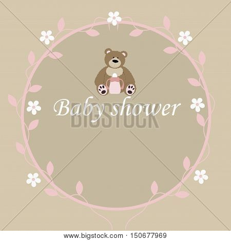 baby vintage pink frame with bear. template greeting or invitation. baby vector illustration. Baby shower or arrival