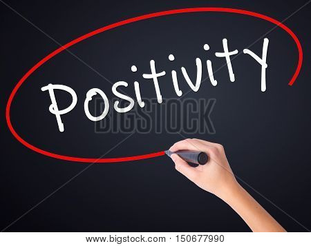 Woman Hand Writing Positivity With A Marker Over Transparent Board