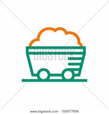 coal mine wagon icon on white background Created For Mobile Infographics Web Decor Print Products Applications. Icon isolated. Vector illustration