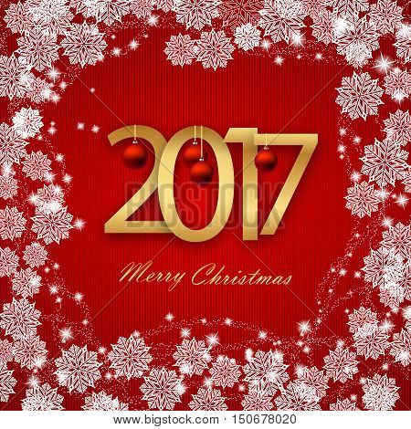 Happy New Year 2017 Christmas Card White Text on Red background.