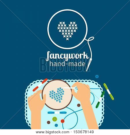 Kids handmade vector illustration. Fancywork and cross stich icon