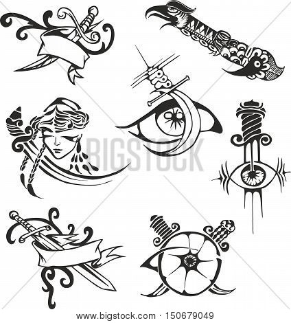 Set Of Tribal Tattoo Stencils With Blades