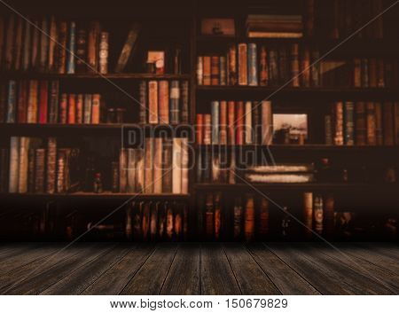 blurred Image Many old books on bookshelf in library
