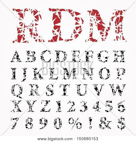 grunge broken alphabet, vector broken glass font, cut out letters