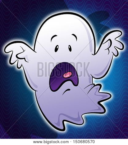 Illustration of cartoon stylized cute little scary white ghost with hands screaming