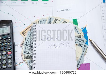 Need help? - Note Pad With Text On dollar bills