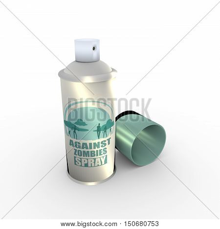 Illustration of anti zombies spray with cap. 3D rendering. Metallic painting label. Against zombies spray text on bottle. Zombie silhouette on sundown backdrop