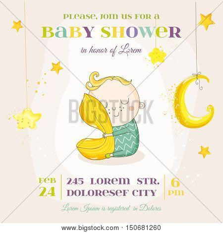 Baby Boy Sleeping with a Pillow - Baby Shower or Arrival Card - in vector