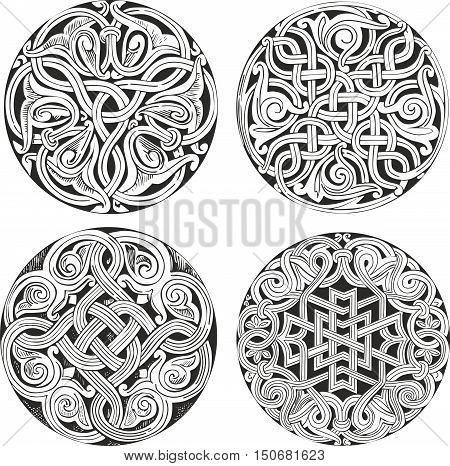 Set Of Round Knot Decorative Patterns