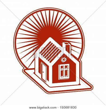 Real estate concept. Illustration of house on sunset background vector design element. Simple house and daybreak landscape