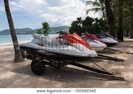 PHUKET THAILAND - JULY 252016 : Jet Ski Boat moored on the beach for the discerning traveler at Patong beach 252016 at Patong beach Phuket Thailand