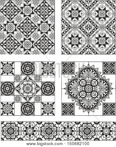 Set Of Rectangle And Square Form Ornamental Patterns