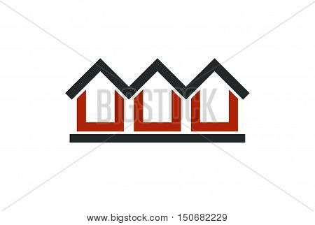 Red holiday houses vector illustration home image. Touristic and real estate creative emblem cottages front view.