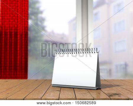 White loose-leaf calendar mock up in front of blurred background. Table tent on wooden table in blurred room mock up. 3d illustration of blank desk calendar selective focus.