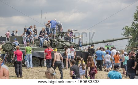 Rostov-on-Don Russia- June 052016: Adults and children learn T-90 tank on the Bizon Track Show
