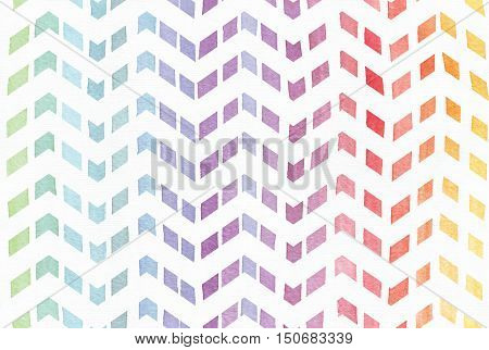 Gradient splattered rainbow background in zigzag pattern hand drawn with watercolor ink. Seamless painted pattern good for decoration. Imperfect illustration. Pastel bright colors