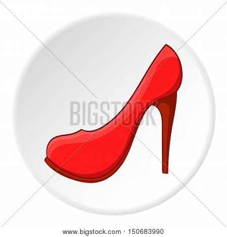 Women shoes icon in cartoon style isolated on white circle background. Footwear symbol vector illustration