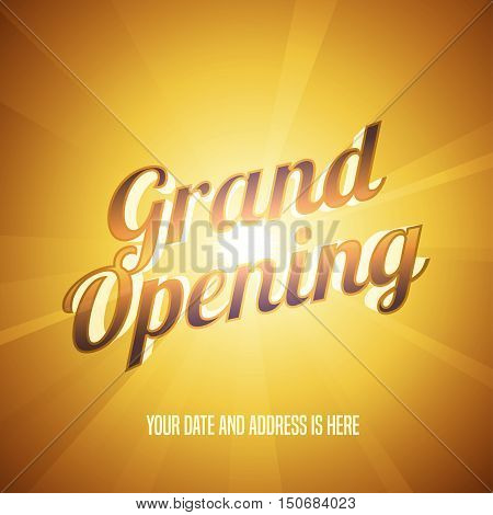 Grand opening vector illustration, background with golden lettering sign. Template banner, flyer, design element, decoration for opening event