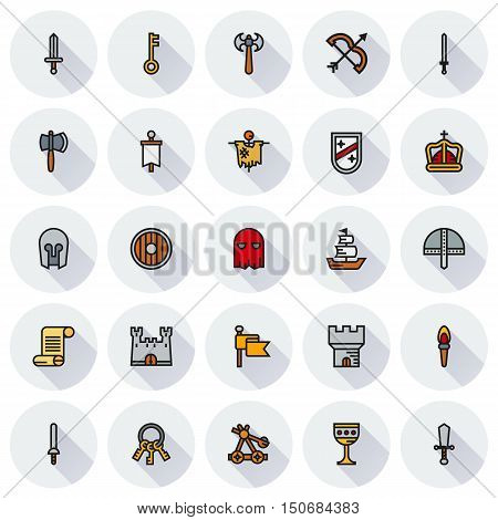 MEDIEVAL icon set of colour simple icons for web app. Vector illustration on round background