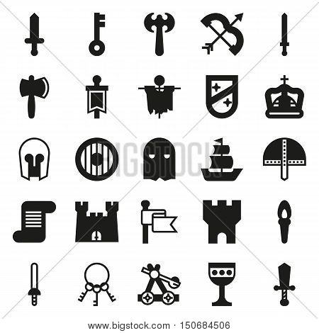 MEDIEVAL icon set of black simple icons for web app. Vector illustration on white background