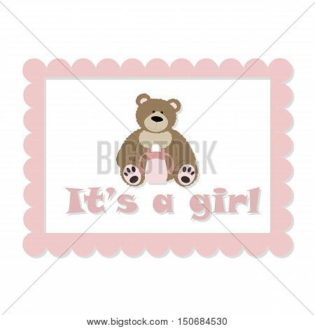 Baby rectangular frame with bear for girls. It's a girl. template greeting or invitation. baby vector illustration. Baby shower or arrival