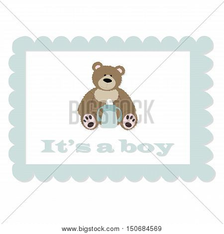 baby vintage blue frame with bear. It's a boy. template greeting or invitation. baby vector illustration. Baby shower or arrival