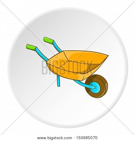 Garden wheelbarrow icon in cartoon style isolated on white circle background. Territory cleaning symbol vector illustration
