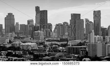 Black and White, Bangkok city office building downtown, Thailand
