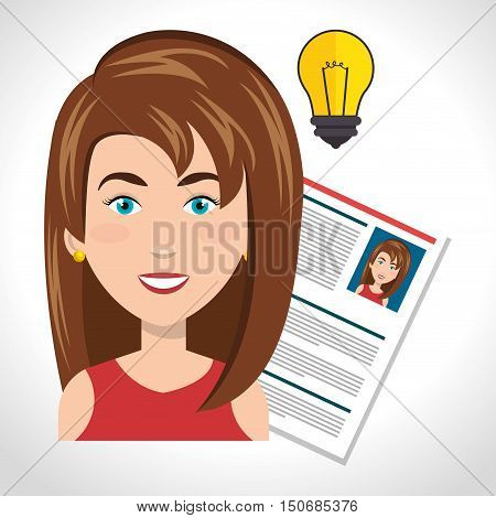 avatar woman smiling with curriculum vitae cv and bulb light. human resources theme. vector illustration