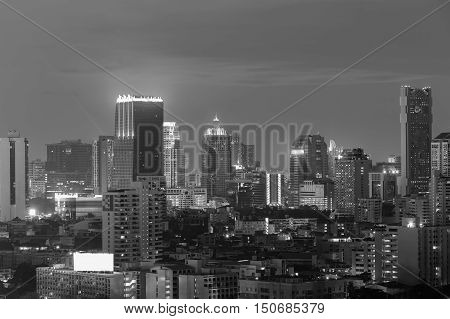 Black and White, night Bangkok office building in city downtown, Thailand