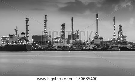 Black and White, Oil refinery river front, Bangkok Thailand