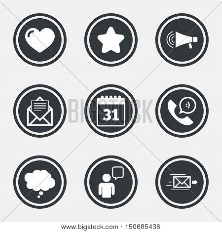 Mail, contact icons. Favorite, like and calendar signs. E-mail, chat message and phone call symbols. Circle flat buttons with icons and border. Vector