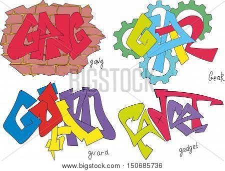 Gang, Gear, Guard And Gadget Graffiti