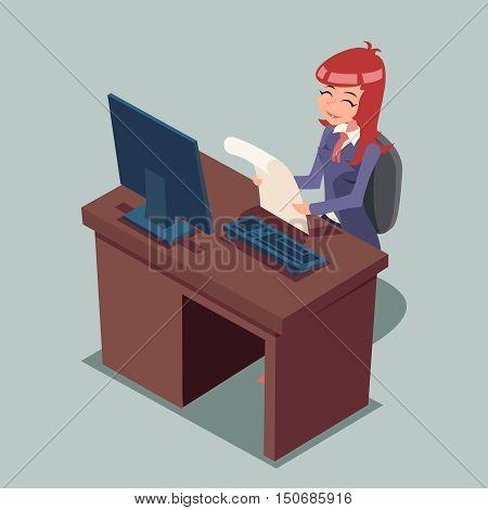 Businessman Desk Working on Computer Cartoon Characters Icon Retro Cartoon Design Vector Illustration