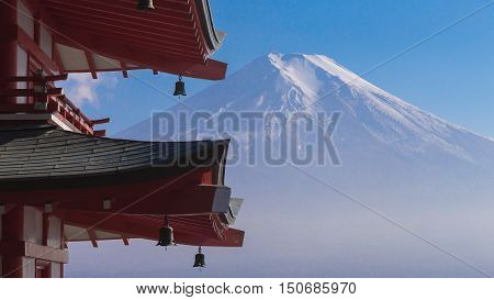 Fuji volcano mount back of red pagoda, Japan natural landscape background