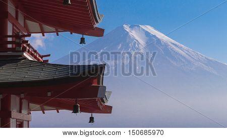 Fuji volcano mount back of red pagoda, Japan natural landscape background