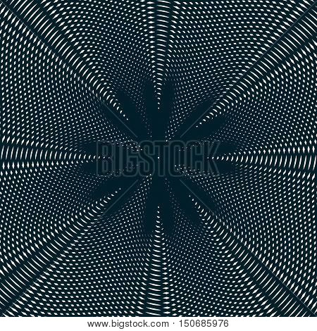 Abstract lined background optical illusion style. Chaotic lines creating geometric pattern with visual effects.