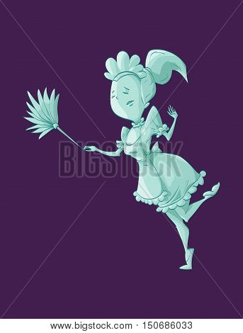 Colorful vector illustration of a cartoon green ghost maid cleaning