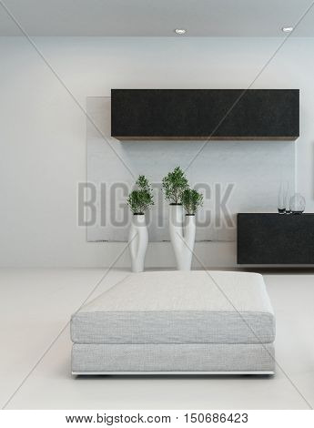 3D rendering of mattress or rectangular cushion in room with dark cabinets and unique plant holders