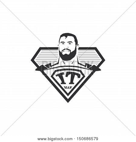 Isolated abstract black and white IT man logo. Super computer hero logotype. Comic icon. Professional programmer emblem. Vector IT illustration