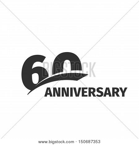 Isolated abstract black 60th anniversary logo on white background. 60 number logotype. Sixty years jubilee celebration icon. Sixtieth birthday emblem. Vector anniversary illustration