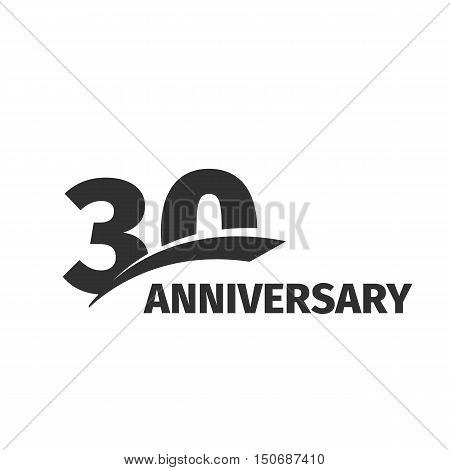 Isolated abstract black 30th anniversary logo on white background. 30 number logotype. Thirty years jubilee celebration icon. Thirtieth birthday emblem. Vector anniversary illustration