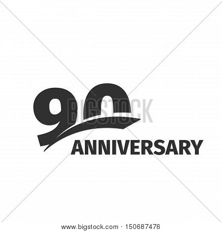 Isolated abstract black 90th anniversary logo on white background. 90 number logotype. Ninety years jubilee celebration icon. Ninetieth birthday emblem. Vector anniversary illustration