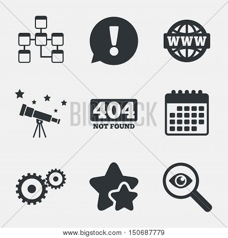 Website database icon. Internet globe and gear signs. 404 page not found symbol. Under construction. Attention, investigate and stars icons. Telescope and calendar signs. Vector