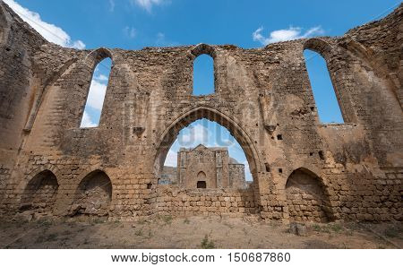 Ruins of St Mary of the Carmelites church situated in the North West corner of Famagusta town in Cyprus.