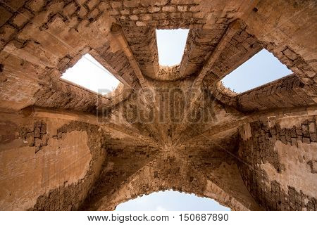Rooftop of Ruins of St Mary of the Carmelites church situated in the North West corner of Famagusta town in Cyprus.