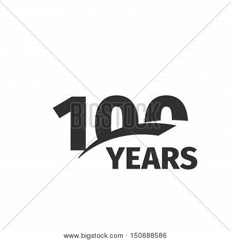 Isolated abstract black 100th anniversary logo on white background. 100 number logotype. One hundred years jubilee celebration icon. One-hundredth birthday emblem. Vector anniversary illustration