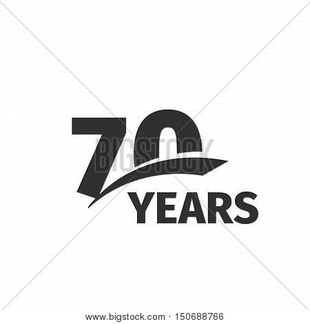 Isolated abstract black 70th anniversary logo on white background. 70 number logotype. Seventy years jubilee celebration icon. Seventieth birthday emblem. Vector anniversary illustration