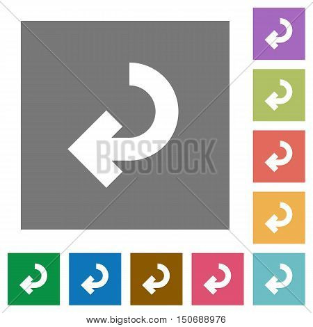 Return arrow flat icon set on color square background.